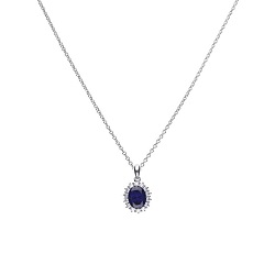 69678 - Silver diamonfire Blue & White CZ oval shaped cluster Pendant & Chain