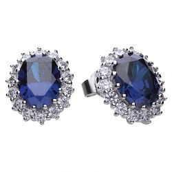 69679 - diamonfire Oval shaped Cluster Blue & White CZ Stud Earrings in Sterling Silver