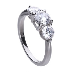 69681 - 3 stone diamonfire CZ ring in silver