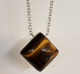 69683 - Handmade pendant set with Tiger's Eye in Sterling Silver