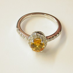 69714 - Yellow Sapphire & Diamond Cluster Ring in 18ct White Gold
