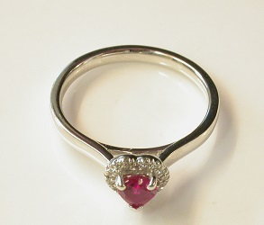 69715 - Heart shaped Ruby & Diamond Cluster Ring in 18ct White Gold