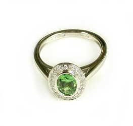 69725 - Secret Kiss Tsavorite & Diamond Ring in 18ct White Gold