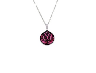 69730 - Aluminium Blossom Cup Pink Pendant & Chain