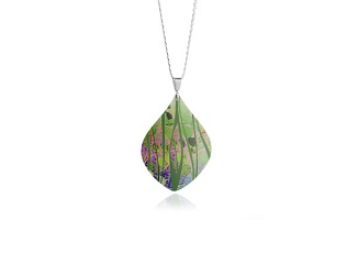 69736 - Aluminium Honesty Green Pendant & Chain