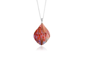 69737 - Aluminium Honesty Orange Pendant & Chain