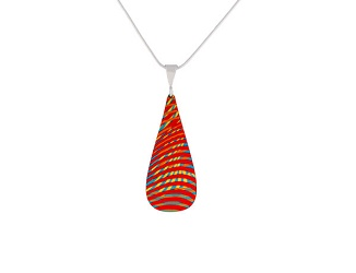 69754 - Aluminium Weave Red Pendant & Chain