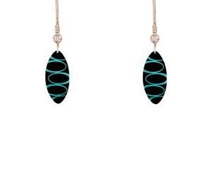 69759 - Aluminium Bella Noir Turquoise Drop Earrings