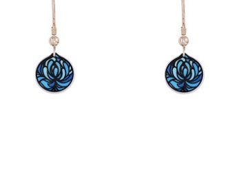 69760 - Aluminium Blossom Cup Blue Drop Earrings