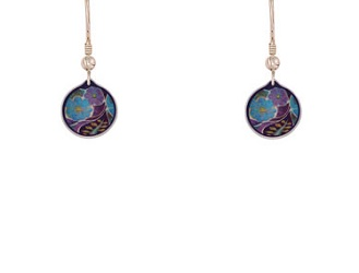 69765 - Aluminium Garden Cup Purple Drop Earrings