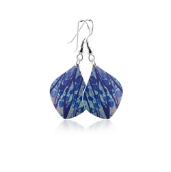 69767 - Aluminium Honesty Blue Drop Earrings