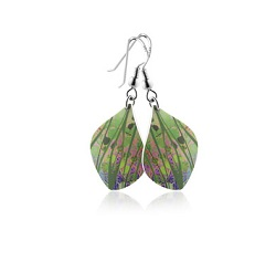 69768 - Aluminium Honesty Green Drop Earrings