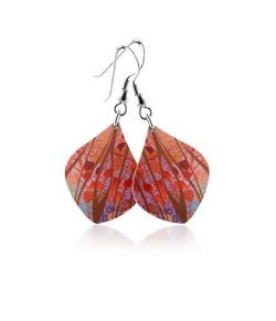 69769 - Aluminium Honesty Orange Drop Earrings