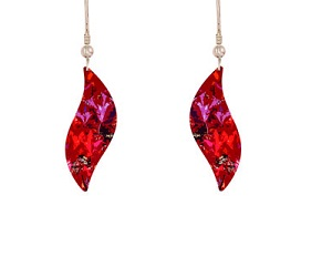 69774 - Aluminium Meadow Red Drop Earrings