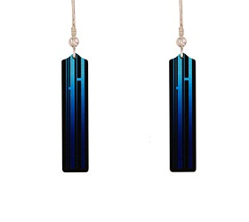 69778 - Aluminium New York Blue Drop Earrings