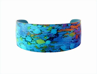 69821 - Aluminium Water Lily Blue Bangle