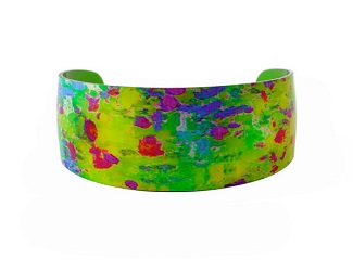 69822 - Aluminium Water Lily Green Bangle
