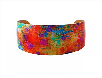 69823 - Aluminium Water Lily Orange Bangle