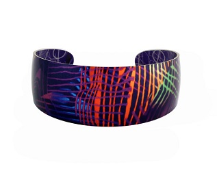 69825 - Aluminium Weave Blue Bangle