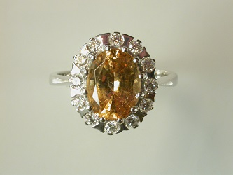 69842 - Butterscotch Hessonite Garnet & Diamond Cluster Ring in 18ct White Gold