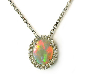 69869 - 18ct White Gold Opal Diamond Pendant on chain