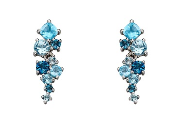 69903 - Multi shaped Blue Topaz Cluster stud Earrings in 9ct white gold