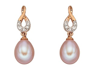 69904 - Pink Pearl & Diamond Drop Earrings in 9ct rose gold