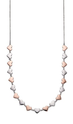 69923 - Fiorelli Silver & Rose gold plated Multi Heart Pendant & Chain