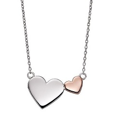 69924 - Fiorelli Silver & Rose gold plated Double Heart Pendant & Chain