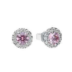 69930 - Diamonfire CZ set Pink & White cluster Stud Earrings in Sterling Silver