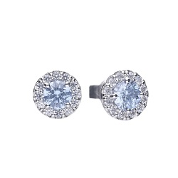 69931 - Diamonfire CZ set Blue & White cluster Stud Earrings in Sterling Silver