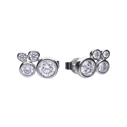69932 - Diamonfire CZ asymmetric cluster Stud Earrings in Sterling Silver