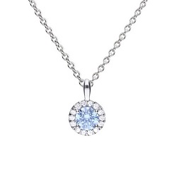 69934 - Silver diamonfire Blue & White CZ round shaped cluster Pendant & Chain
