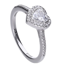 69936 - Diamonfire CZ Heart shaped Cluster Ring in Silver