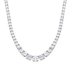 69940 - Graduated Silver Tennis choker set with diamonfire CZ