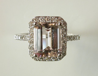 69949 - Pink Morganite & Diamond Ring in 18ct White Gold
