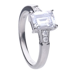 69968 - 5 stone diamonfire CZ ring in silver