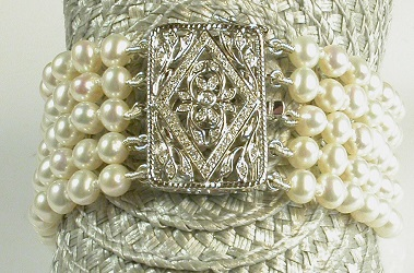 69105 - Belle Epoque style Diamond set 5 row Pearl Bracelet