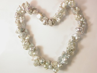 69986 - Silver Grey Keshi Pearl necklace on magnetic clasp