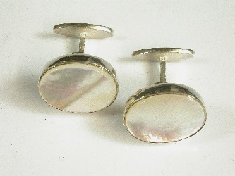 69989 - Fixed Toggle Sterling Silver cufflinks with Mother of Pearl inset