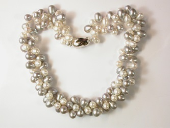 69992 - Unusual top drilled Grey & White 2 row Pearl Torsade on silver nugget safety clasp