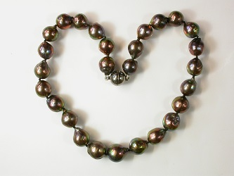 69999 - Beautiful near round  Peacock grey Pearls on an oxidised silver magnetic clasp