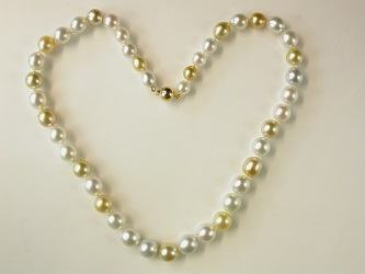 70029 - Stunning Graduated Golden & White South Sea Pearls with 18ct  Yellow gold safety clasp