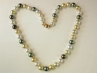 70030 - Stunning Vari-coloured South Sea Pearls with 18ct  Yellow gold safety clasp