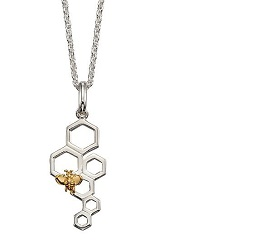 70075 - Silver Bee & Honeycomb Pendant  & Chain