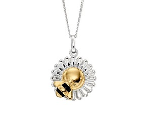 70076 - Silver Bee & Flower Pendant  & Chain
