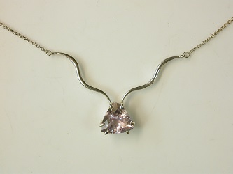 70129 - Amethyst Trilliant necklace in Sterling Silver