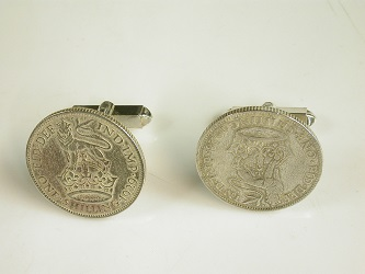70143 - Fixed Toggle Sterling Silver cufflinks with1930's 3d coins