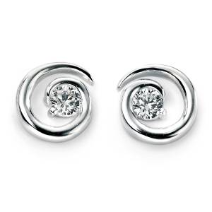 68792 - CZ Spiral Stud Earrings in Sterling Silver