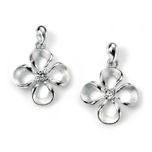 68851 - Flower Drop Earrings in Sterling Silver